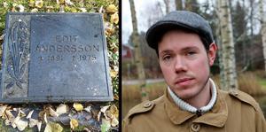 Daniel Stefansson har reagerat starkt på de dumpade gravstenarna i Edebo. Hans morfars farmors gravsten är en av de stenar som kastats bakom muren.