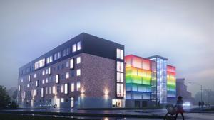 En vy från motsvarande sida. Den visar även att kontorsbyggnaden kommer att byggas på en våning. Bild: Skifu