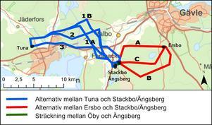 Mellan Ersbo och Stackbo förordar Vattenfall alternativ A som innebär att ledningarna följer en befintlig kraftledningsgata. I Stackbo ska nya markkablar dras mellan de befintliga ställverken som kommer att byggas ut. På sträckan Stackbo-Tuna ser Vattenfall helst att ledningarna dras enligt alternativ 1A eller 1B, norr om Östanbyn och över den sydligaste delen av Högbo golfklubbs bana. Sträckning 1B innebär större möjlighet än 1 A att nyttja befintliga kraftledningsgator och vägar, enligt Vattenfall.