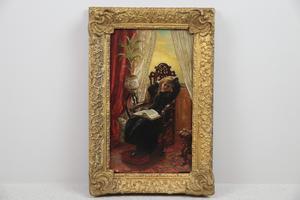 Maffiga oljemålningar i stora guldramar. Den här från 1800-talets andra hälft klubbades för 3400 kronor på Effecta.