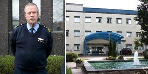 Till vänster i bild: Stefan Dangardt är polisens presstalesperson. Till höger i bild: Avesta lasarett. Foto: Arkiv