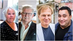 Alliansen i Södertälje, Marita Lärnestad (M), Tage Gripenstam (C), Mats Siljebrand (L) och David Winerdal (KD). Foto: Marion Palm/Madeleine Andersson/Mattias Holgersson