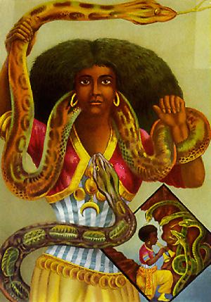 Mami Wata porträtterad i en affisch från 1880-talet.