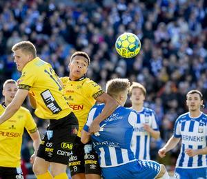 Kevin Kabran i Elfsborgs färger i 0-3-förlusten mot IFK Göteborg tidigare under säsongen. Foto: Adam Ihse / TT.