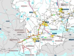 Trafikverkets egen karta med vårens och försommarens beläggningsarbeten inritade i rött, svart och orange.