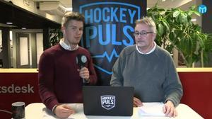Adam Johansson och Pelle Hägglund under Hockeypuls sändning. Bild: Mittmedia.