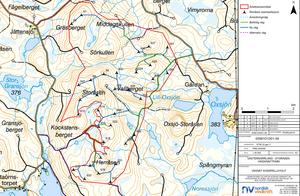 Kartskiss över Storåsens vindkraftpark med 33 vindkraftverk. Bild: Noridsk Vindkraft