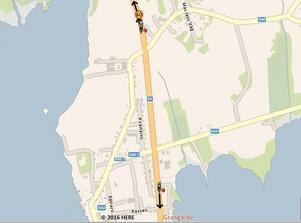 Karta över de två nya fartkamerorna i Grangärde. Bild: Trafikverket.