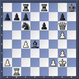 Lösning: 1.Df7 Se5 2.Th1.