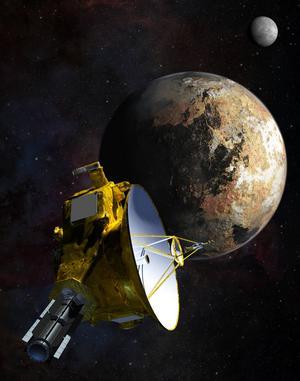 De svindlande framtidsfantasierna och den trygga vardagen - lika nödävndiga för oss människor. Så här kommer det att se ut närfarkosten  New Horizons närmar sig Pluto. I bakgrunden Plutos måne Charon.Foto: NASA