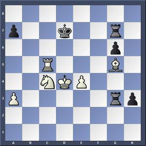 Lösning: 1.Se5+ Ke8 2.Tc8 /1.-,Kd6 2.Tc6