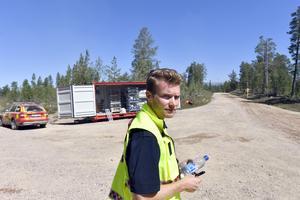 Johan Szymanski på ledningsplatsen strax innan staben flyttas