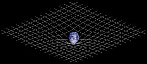 Tvådimensionell bild av rummets och tidens relativitet. Illustration av Johnstone.