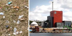 Nära Igelstaverket finns gått om söndertuggade plastbitar i naturen. Foto: Privat och LT-arkiv