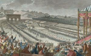 Parisarna firar att det är ett år sedan revolutionen utbröt. Gravyr av Charles Monnet från 1790.