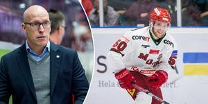Timrås IK:s Fredrik Andersson har bra koll på Modos Tim Wahlberg efter tiden som tränare i Modos J20-lag. Bilder: Christian Örnberg och Johan Löf/Bildbyrån