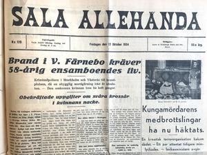 Den 12 oktober 1934 mördades en äldre ensamstående kvinna i Västerfärnebo, Matilda Blomkvist, genom att ligan borrade hål i hennes husvägg och gasade ihjäl henne i sömnen med bilavgaser. Ligan trodde att hon hade en större mängd pengar hemma, men hon hade just innan varit på banken och bytet blev endast drygt sex kronor. Även detta offers hus brändes ned.