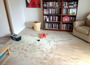 Pulvret la sig som mjöl i vardagsrummet. Böcker, möbler – allt måste saneras. Men går det att få ren Pippi-peruken?