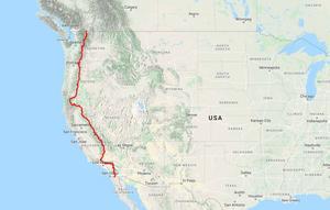 Pacific Crest Trail är 425 mil och går från Kalifornien till gränsen mot Kanada. Karta: Google