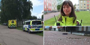 Två polisbilar, en ambulans och två bilar från räddningstjänsten var på plats när reportrarna anlände.