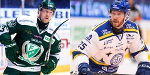 Linus Persson i FBK-tröjan säsongen 2017-18 och LIF-tröjan 2019-20. Foto: Bildbyrån/Arkiv
