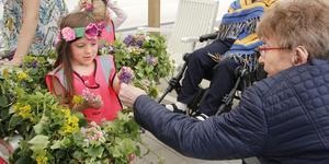 Sedan 2015 har förskolan Filuren och äldreboendet Johannesbergsgatan 2 firat midsommar ihop. Efter dansen vankades det jordgubbar och glass.