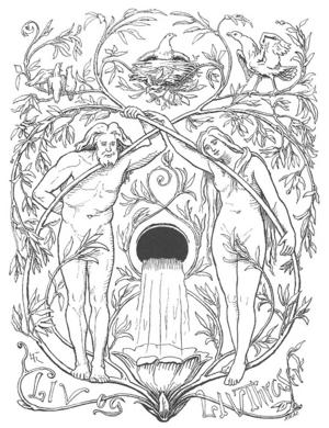 De första människorna Lif och Liftrase . Illustration av Lorenz Frølich från 1895,