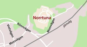 Bostadsområdet Norrtuna ligger i nordöstra delen av Järna. Karta: Tomas Karlsson