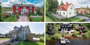 Ett montage med några av de hus som finns med på Klicktoppen för vecka 32, sett till de hus i Dalarna som fått flest klick på bostadssajten Hemnet under förra veckan.
