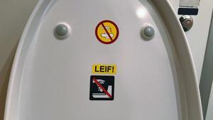 Kasta inte ner sanitetsbindor. Kasta inte ner näsdukar eller pappershanddukar. De piktogrammen känner varje resenär till – det finns mycket som ställer till det för tågens vakuumtoaletter. Men varför skulle LEIF! göra det? Eller varför började någon särskilt säga åt kollegan (?) Leif att inte kasta saker i toaletten som inte hör hemma där? Eller är LEIF! en kodad uppmaning?