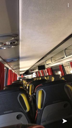 Felix egna bild från den tomma bussen i Malung där han blev inlåst vid lunchtid i fredags. Foto: Felix Söderberg.