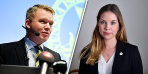 Anders Larsson, ordförande för Svenska ishockeyförbundet, och Angelika Bengtsson, Sverigedemokraternas idrottspolitiska talesperson.