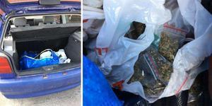 I backluckan på en bil hittades droger och vapen. Bilder från polisens förundersökning.