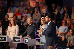 Partiledarna Annie Lööf (C), Jan Björklund (L), Ebba Busch Thor (KD) och Jimmie Åkesson (SD) under valspurten.