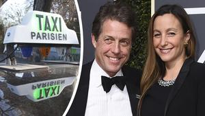 Hugh Grant och Anna Eberstein var med om en dramatisk taxiresa för några veckor sedan. Bilder: Michel Euler/AP och Jordan Strauss Invision/AP