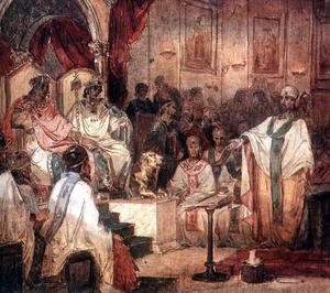Det fjärde kyrkomötet i Kalcedon.  Målning av Vasily Surikov från 1876.