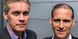 Avgående vd Christer Malm och Anders Mannelqvist, ny vd på Pro Test Diagnostics. Foto: Press