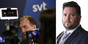 Som vanligt var inte detta riktigt Stefan Löfvens kväll. Socialdemokraternas partiledare gör sig inte i partiledardebatter av den här typen, skriver Csaba Bene Perlenberg. Bilden är från en tidigare Agenda-debatt. Foto: TT.