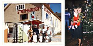 Strömsborg i Hol, Noraström med familjen Grundström. Karin med buketten till vänster och Georg som nummer 2 från höger, sonen Håkan längs till höger nedre raden. Sedan är det kusiner och syskon till familjen. Foto: Familjen Grundström