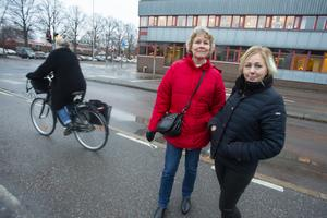 Lina Persson och Catrin Johansson halkade runt på väg till en kurs i Gävle.