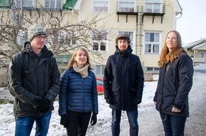 Här är några av föräldrarna som kämpat för att behålla skolan I Allsta – Mikael Brander, Laura Brander, Björn Hammarstedt och Åsa Holmvall.