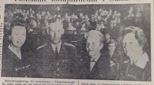 Lottajubileum i Sundsvall. Från vänster: rikslottachef Louise Ulfhielm, generalmajor Tage Ohlin, Gunvor Krogstad  från Norge och förbundslottachef Lisa Edlund.        ST 24 november 1968.
