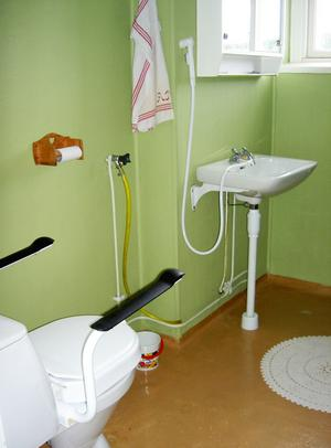 Före. Så här såg badrummet på övervåningen ut innan det gjordes om.