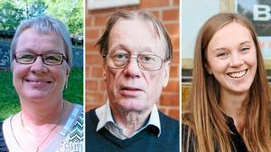 Ingela Wikander (KD), Michael Öhman (SD) och Sanne Flink (S) tar plats i nya fullmäktige.