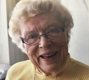 Gun-Marie Näslund i Bjästa fyller 90 år och välkomnar besök. Bild: Privat