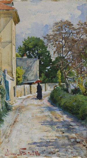 Jenny Nyström blev senare känd för sina tomteillustrationer, men studerade konst i Paris 1882-1886. Hennes akvarell  från 1884 är en ögonblicksbild från staden. Pressbild: NAtionalmuseum.