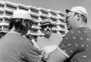 Sven Melander, Lasse Åberg och Weiron Holmberg under inspelningen av filmen Sällskapsresan. Foto: Gunnar Lantz/SvD/TT