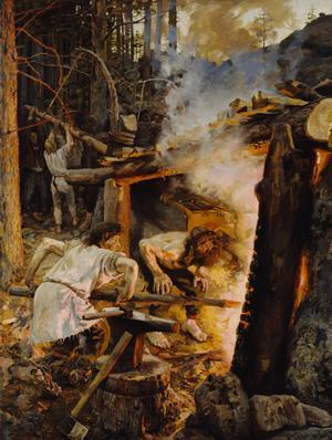 Smeden och guden Ilmarine vid sin smedja. Målning av Akseli Gallen-Kallela från 1893.