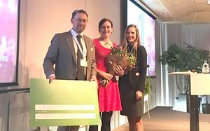 Maria Wiman tog emot pris på Handelskammarens årsmöte 2019. Det var elfte gången priset