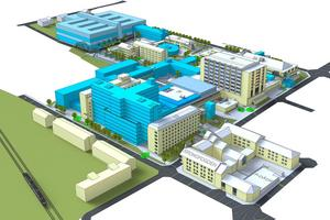Östersunds sjukhus om cirka 20 år, enligt fastighetsvisionen som nu klubbats. Bilden visar utbyggda etapper i blått, genomförda fullt ut.